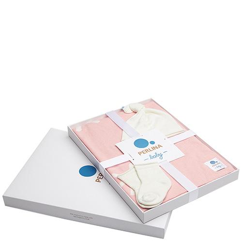 Комплект для новорожденных Perlina Baby Снег розового цвета, фото