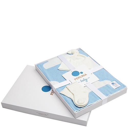 Комплект для новорожденных Perlina Baby Снежная тучка синего цвета, фото