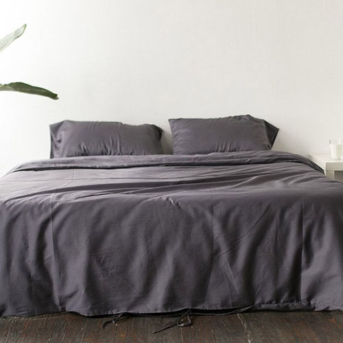 Двуспальный комплект постельного белья Etnodim из хлопка серого цвета, фото