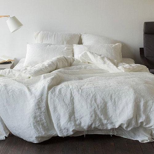Двуспальный комплект постельного белья Etnodim из льна белого цвета, фото