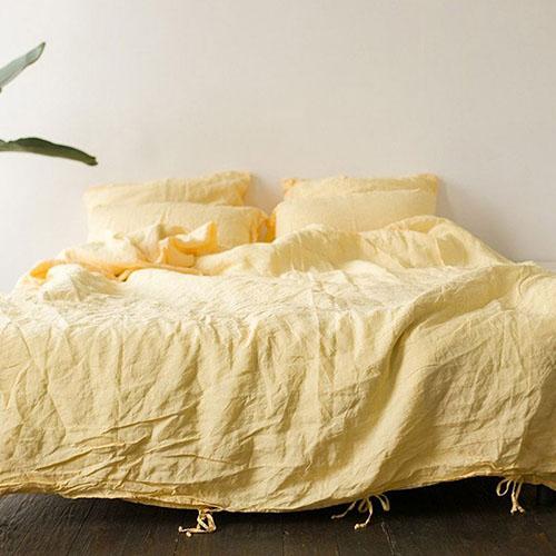 Двуспальный комплект постельного белья Etnodim из льна желтого цвета, фото