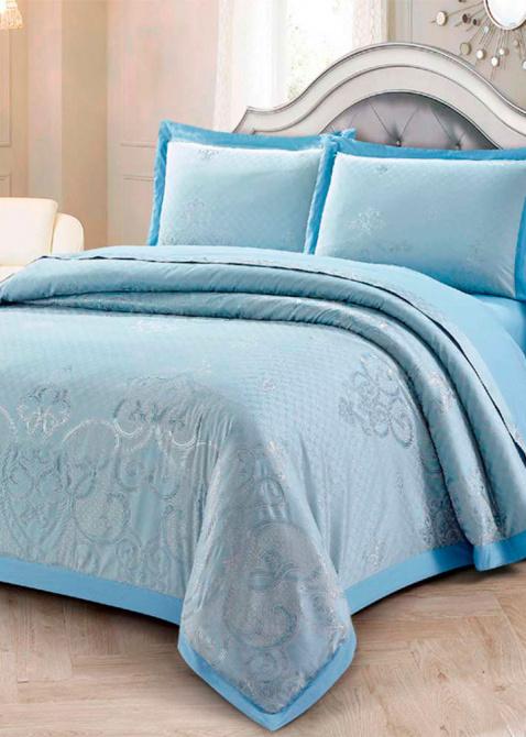 Постельное белье евроразмера Love You Жаккард голубого цвета, фото