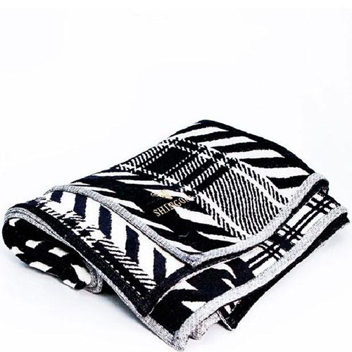 Черно-белый плед Shingora с геометрическим рисунком, фото