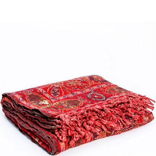 Красный шерстяной плед Shingora с узорами, фото