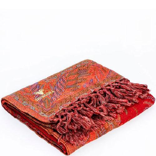 Шерстяной плед Shingora красного цвета с орнаментом, фото