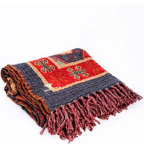 Яркий плед с узорами Shingora из натуральной шерсти, фото
