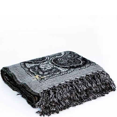 Черный шерстяной плед Shingora с орнаментом, фото