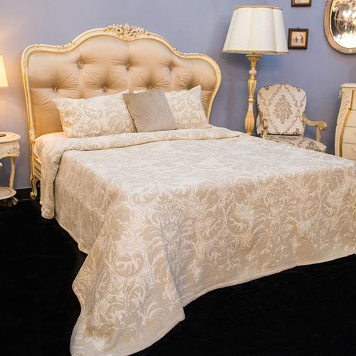 Покрывало бежевое Villa Grazia Roma Premium с орнаментом, фото