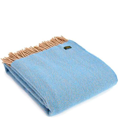 Плед Tweedmill Herringbone Sea голубого цвета, фото