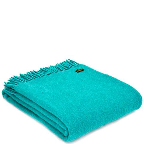 Плед Tweedmill Plain Weave Jade бирюзового цвета, фото