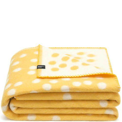 Плед Woolkrafts двусторонний желто-белый в горох, фото