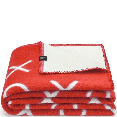 Плед Woolkrafts двусторонний бело-красный с рисунком в крестики-нолики, фото