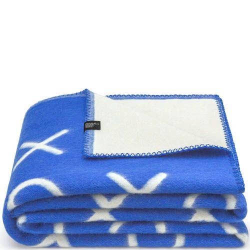 Плед Woolkrafts двусторонний бело-синий с рисунком в крестики-нолики, фото