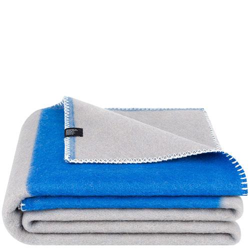 Шерстяной плед Woolkrafts Halfy синий с серым, фото