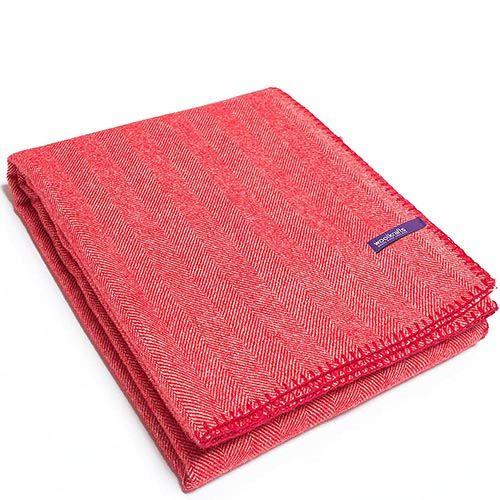 Плед Woolkrafts Herringbone Cranberry красный с рисунком ёлочкой, фото