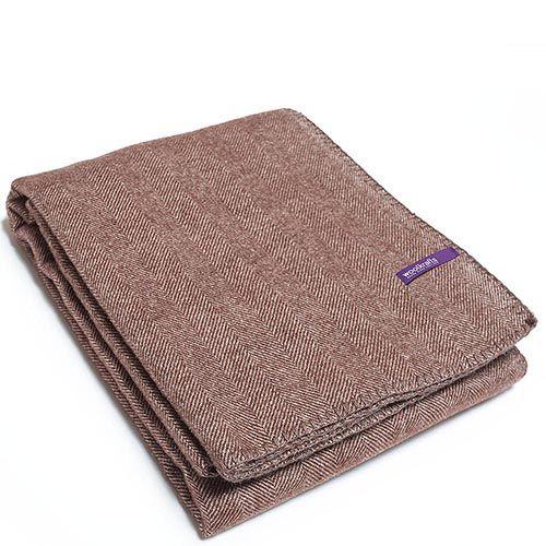 Плед Woolkrafts Herringbone Okland коричневый с рисунком ёлочкой, фото
