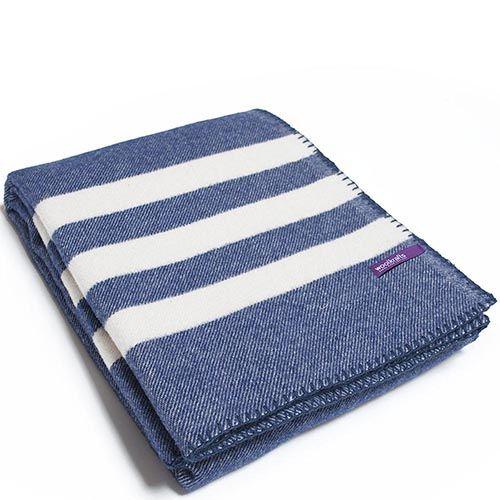 Плед Woolkrafts Stripes Ocean синий с полосками, фото