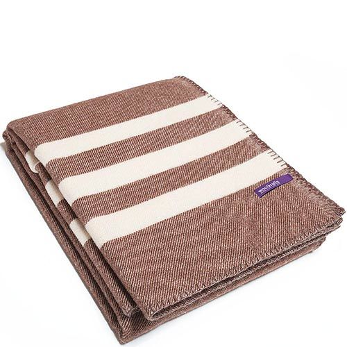 Плед Woolkrafts Stripes Dusk коричневый с полосками, фото
