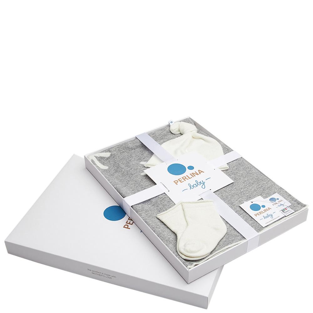 Комплект для новорожденных Perlina Baby Снежная тучка серого цвета