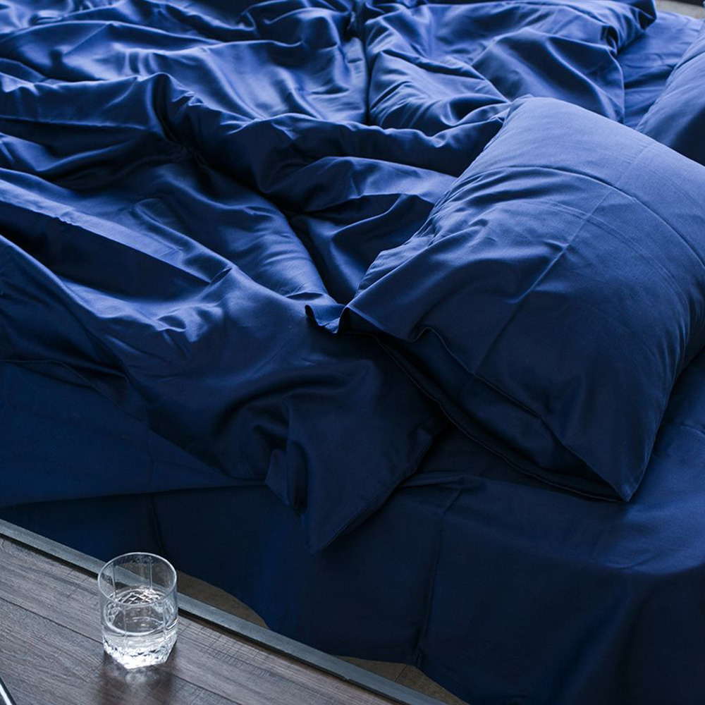 Двуспальный комплект постельного белья Etnodim из хлопка темно-синего цвета