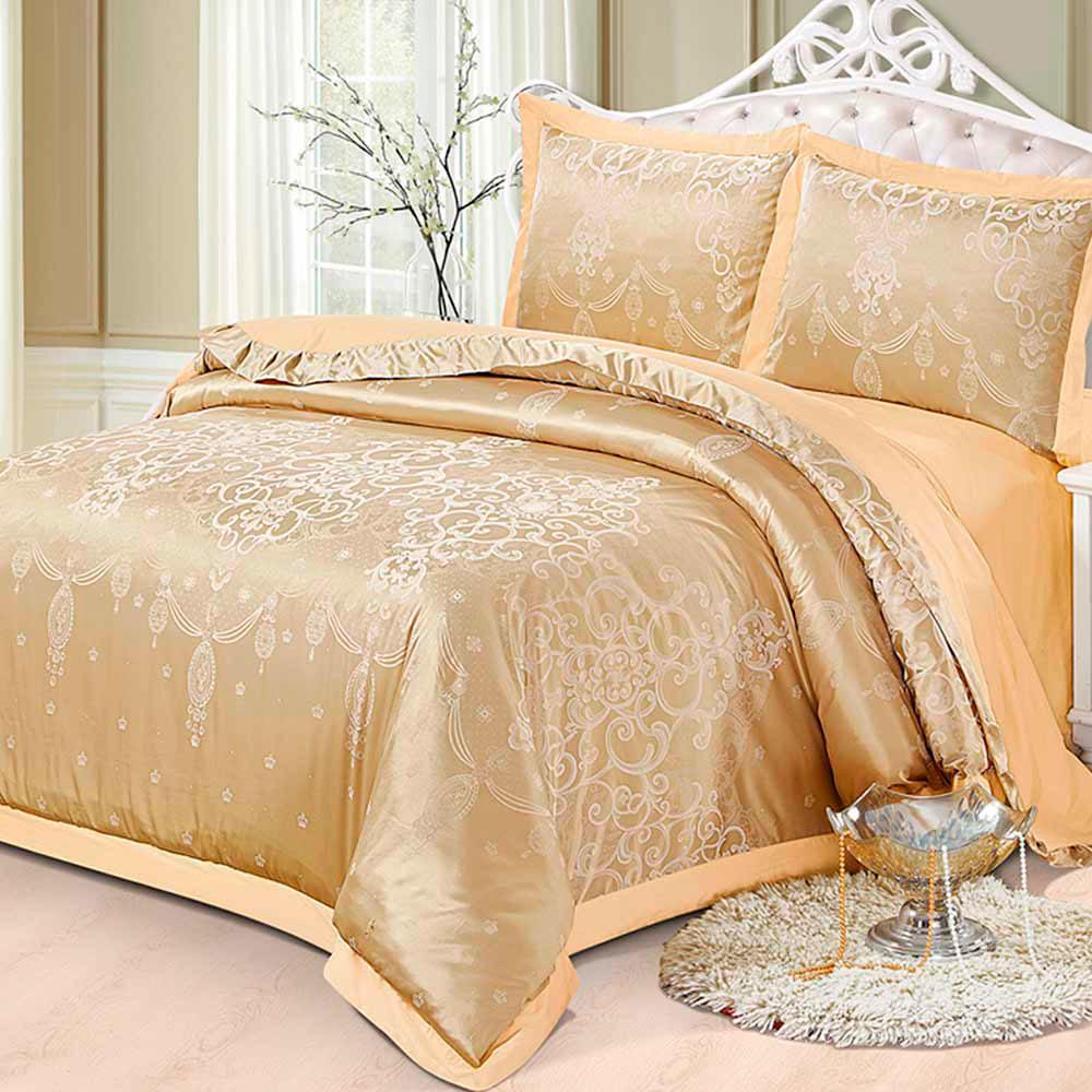 Комплект постельного белья Love You Жаккард золотистого цвета