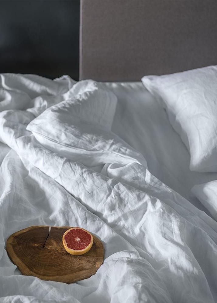 Белый комплект постельного белья Home me Тишина гор однотонный
