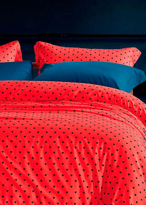 Комплект хлопкового постельного белья Love You LUX красного цвета в горошек
