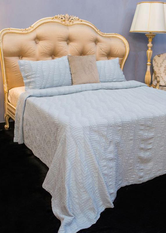 Покрывало голубое Villa Grazia Bard Premium с орнаментом + 2 наволочки