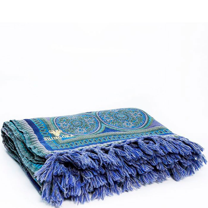 Сине-бирюзовый плед Shingora с орнаментом