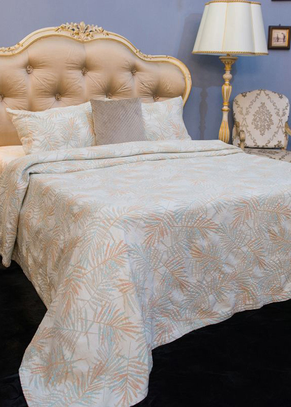 Покрывало бежевое Villa Grazia Cooper Premium с орнаментом + 2 наволочки