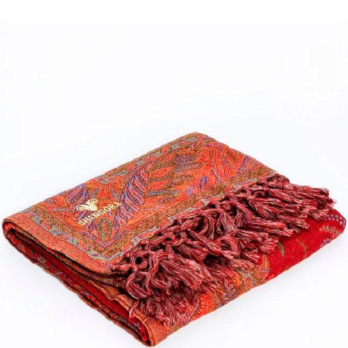 Шерстяной плед Shingora красного цвета с орнаментом