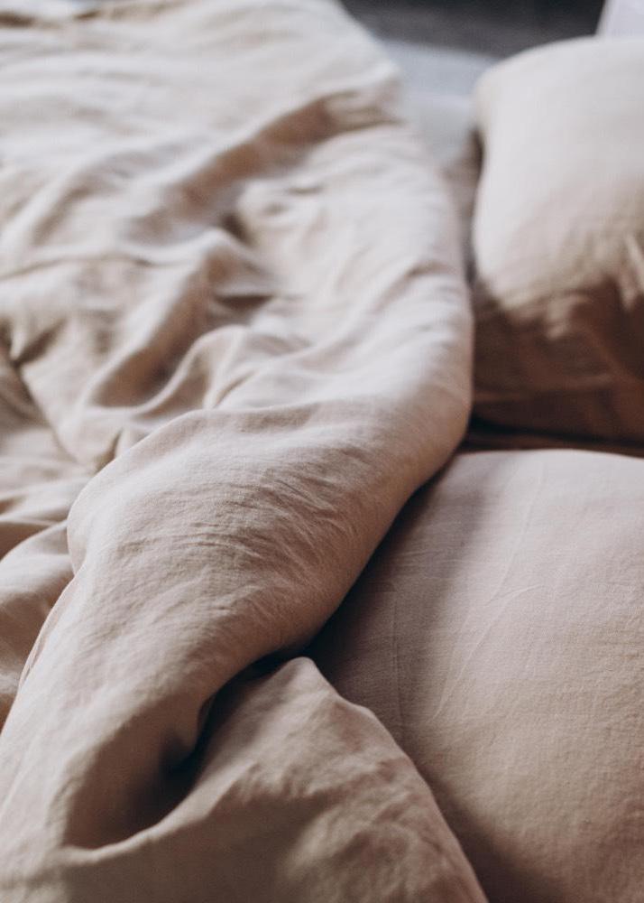 Бежевый комплект постельного белья Home me Миндаль с молоком