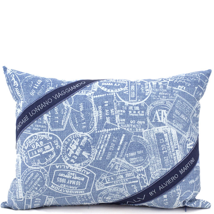 Декоративная подушка Bic Ricami голубого цвета с абстрактным рисунком