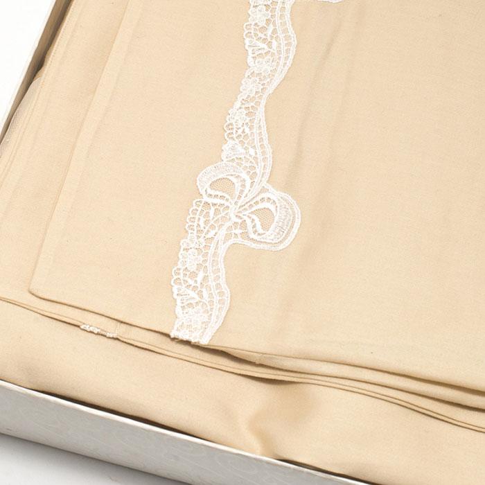Набор постельного белья Bic Ricami бежевого цвета с кружевом