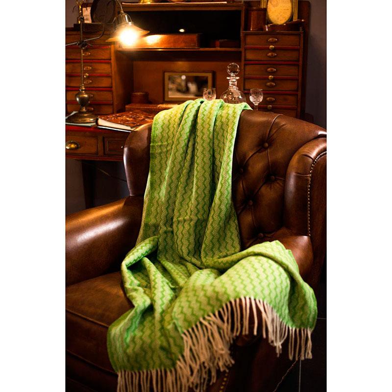 Плед Tweedmill Zigzag зеленого цвета