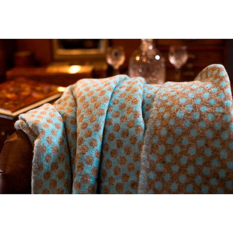 Плед Tweedmill Reversible Spot коричневый с голубым