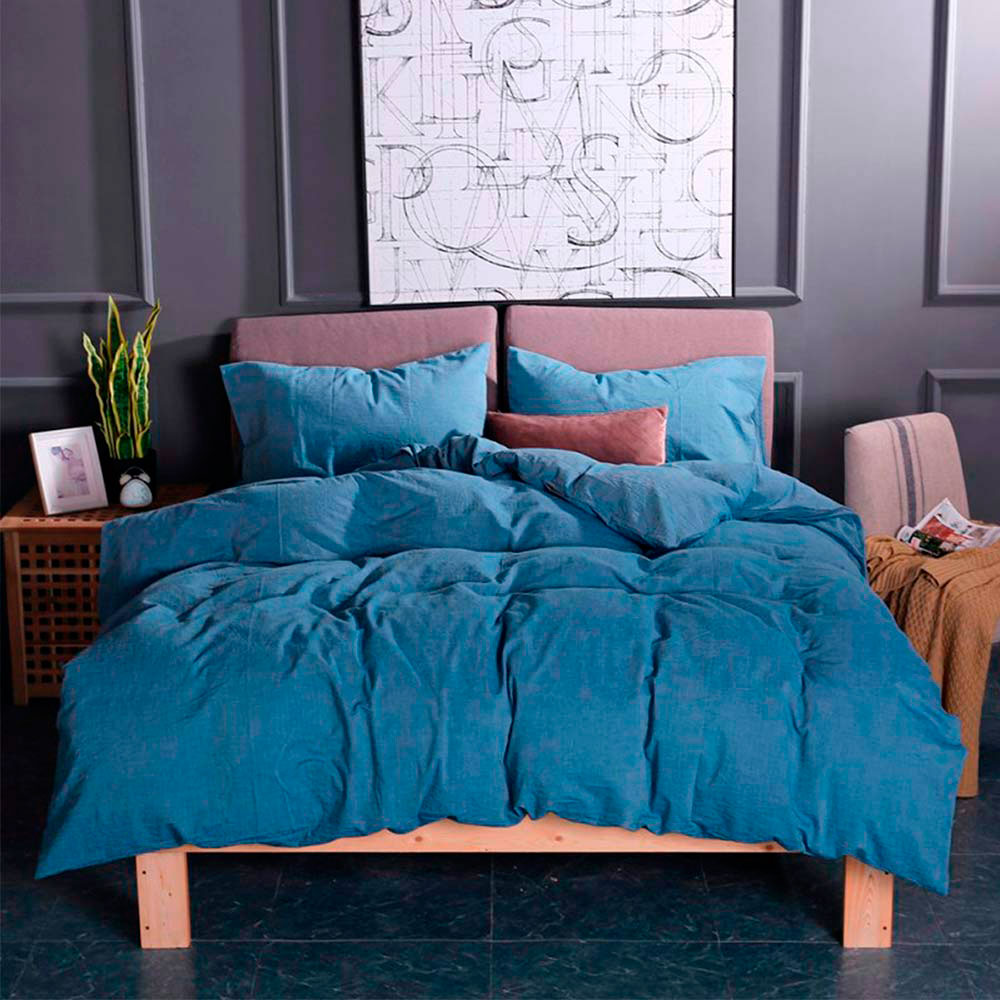 Комплект постельного белья Love You Варенный хлопок синего цвета
