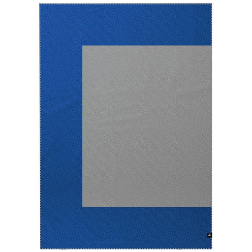 Шерстяной плед Woolkrafts Halfy синий с серым