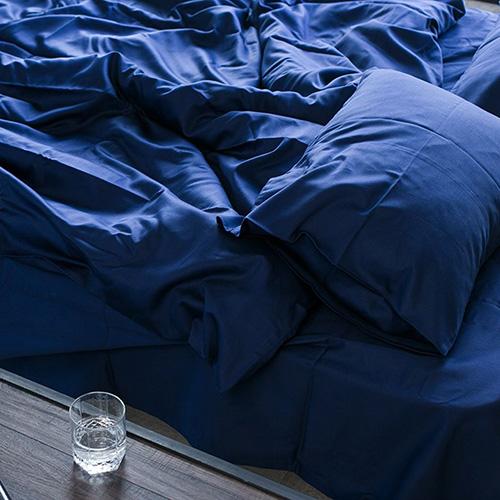 Полуторный комплект постельного белья Etnodim темно-синего цвета, фото