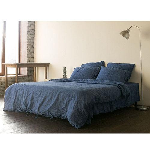 Полуторный комплект постельного белья Etnodim из льна синего цвета, фото