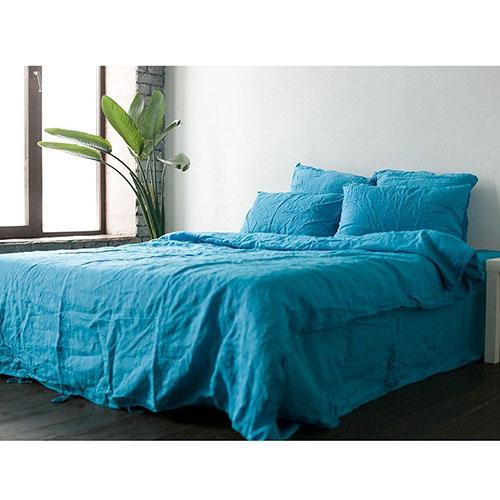 Голубой полуторный комплект постельного белья Etnodim из льна, фото