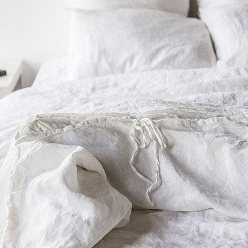 Полуторный комплект постельного белья Etnodim из льна белого цвета, фото