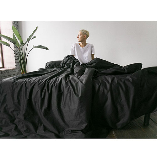 Двуспальный комплект постельного белья Etnodim из хлопка черного цвета, фото