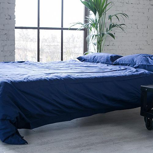 Двуспальный комплект постельного белья Etnodim из хлопка темно-синего цвета, фото