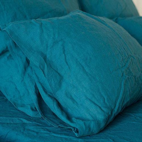 Двуспальный комплект постельного белья Etnodim из льна голубого цвета, фото