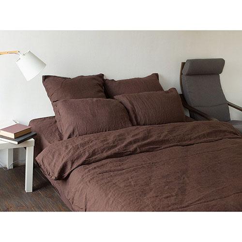 Двуспальный комплект постельного белья Etnodim из льна коричневого цвета, фото