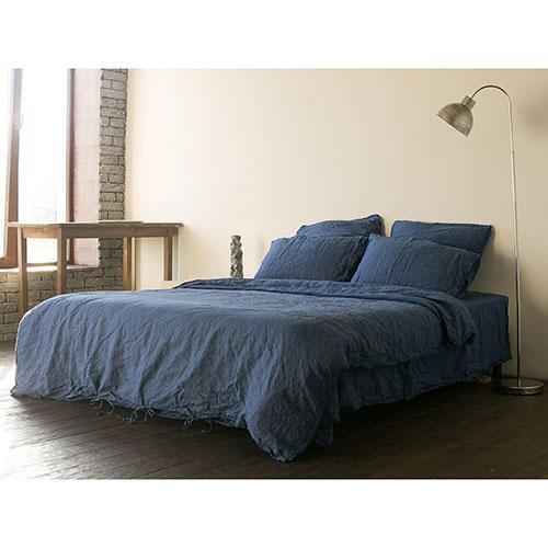 Двуспальный комплект постельного белья Etnodim из льна синего цвета, фото