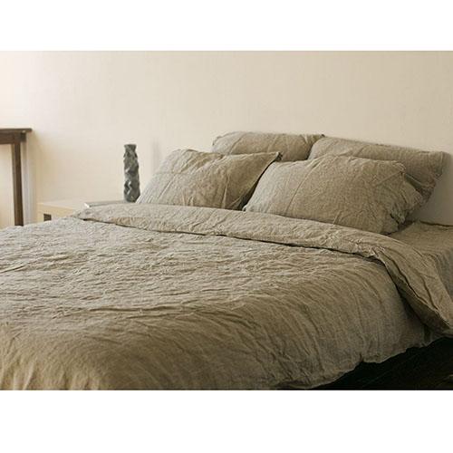 Двуспальный комплект постельного белья Etnodim из льна серого цвета, фото