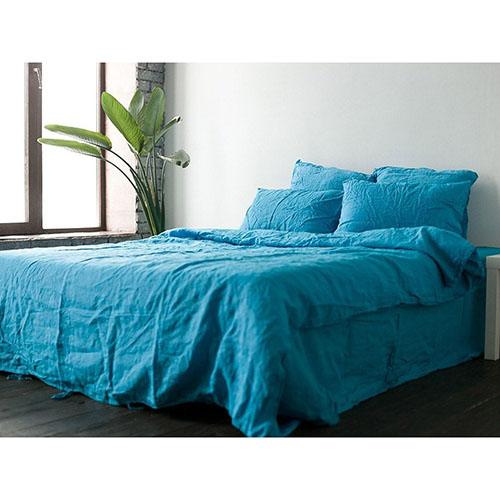 Голубой двуспальный комплект постельного белья Etnodim из льна, фото