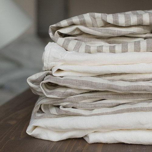 Двуспальный комплект постельного белья Etnodim из льна белого цвета в серую полоску, фото